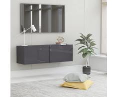 vidaXL Mueble para TV de aglomerado gris brillante 100x30x30 cm