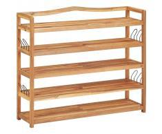 vidaXL Estantería zapatos 5 niveles madera maciza acacia 95x26x80 cm