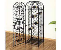 vidaXL Gabinete de Metal Estante Soporte Vino Bodega para 45 Botellas