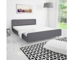 vidaXL Estructura de cama 160x200 cm tapicería tela gris claro