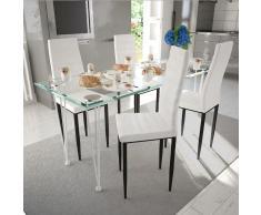 vidaXL 4 sillas blancas comedor Slim Line mesa de vidrio transparente