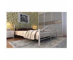 vidaXL Cama con colchón viscoelástico metal 160x200 cm blanca