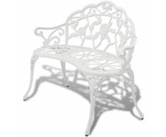 vidaXL Banco de jardín blanco aluminio fundido