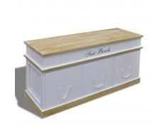 vidaXL Banco baúl de madera blanca para zapatos