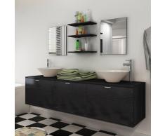 vidaXL set mobiliario baño con lavabo 8 uds color negro (242565+242571)