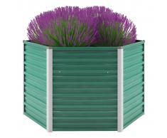 vidaXL Jardinera de jardín de acero galvanizado 129x129x77 cm verde