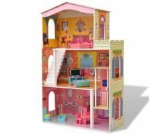 vidaXL Casa de muñecas 3 pisos 73x32x116 cm madera