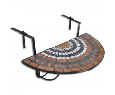 vidaXL Mesa Colgante Mosaico Semicircular Terracota Y Blanco