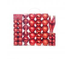 vidaXL Lote de bolas de Navidad 113 unidades rojas 6 cm