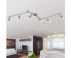 vidaXL Lámpara de techo con 6 focos LED de níquel satinado