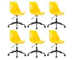 vidaXL Sillas de comedor giratorias 6 uds cuero sintético amarillo