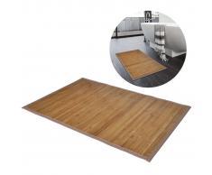 vidaXL Alfombrilla de baño de bambú 60 x 90 cm marrón