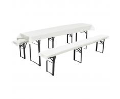 vidaXL Mantel para 1 mesa alargada y 2 fundas crema para 2 bancos, 240 x 90cm