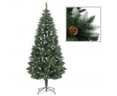 vidaXL Árbol de Navidad artificial con piñas y brillo blanco 180 cm