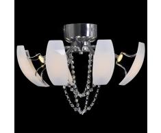 vidaXL Lámpara de araña, candelabro con cristales y luces LED, 52 cm