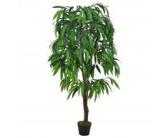 vidaXL Planta artificial árbol de mango con macetero verde 140 cm