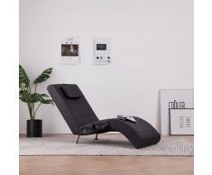 vidaXL Diván de masaje con almohada de cuero sintético marrón