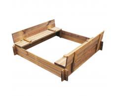 vidaXL Arenero de jardín para niños cuadrado de madera impregnada