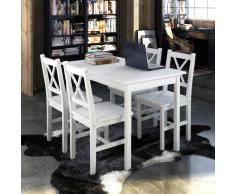 vidaXL Conjunto de comedor mesa con 4 sillas madera blanco