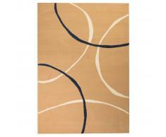 vidaXL Alfombra moderna de estampado circular marrón 140x200 cm