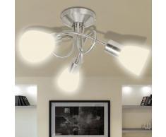 vidaXL Lámpara de techo con pantallas de cristal para 3 bombillas E14