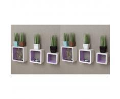 vidaXL Estanterías de cubos para pared 6 unidades blanco y violeta