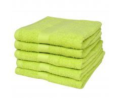 vidaXL Toallas de ducha 5 uds algodón 500 gsm 70x140 cm verde manzana