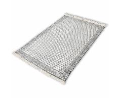vidaXL Alfombra de algodón 180x270 cm blanca y negra