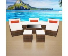vidaXL Set muebles de jardín 10 pzas y cojines ratán sintético marrón