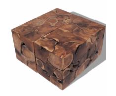 vidaXL Taburetes/mesa de centro madera teca maciza