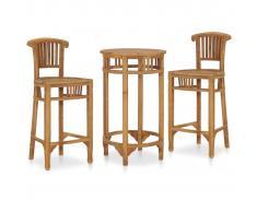 vidaXL Set mesa y sillas de bar de jardín 3 pzas madera maciza de teca