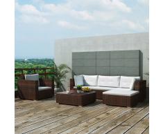 vidaXL juego de sofá jardín 17 piezas mimbre sintético marrón