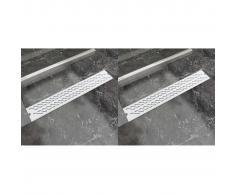 vidaXL Desagüe lineal ducha 2 uds curvas 730x140 mm acero inoxidable