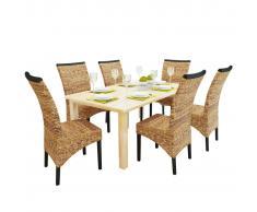 vidaXL Sillas de comedor 6 unidades madera maciza de mango y abacá
