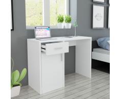 vidaXL Escritorio con cajón y armario blanco 100x40x73 cm