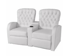 vidaXL Sofá reclinable 2 plazas de cuero artificial blanco