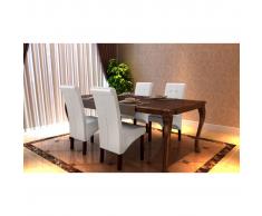 vidaXL Silla de comedor blanca madera y cuero sintético, 4 unidades