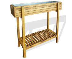vidaXL Jardinera elevada de madera maciza de acacia y zinc