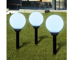vidaXL Lámpara solar de jardín en forma de bola con LED, 20 cm, 3 unidades