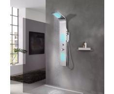 vidaXL Sistema de panel de ducha acero inoxidable curvo