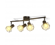 vidaXL Lámpara estilo industrial estructura de alambre con 4 focos LED negra