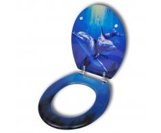 vidaXL Asiento inodoro WC MDF cierre fuerte tapa de delfines