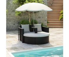 vidaXL Cama de jardín con sombrilla de ratán sintético negro