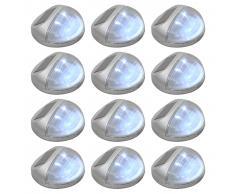 vidaXL Lámparas solares LED de pared exterior 12 uds redondas plateada