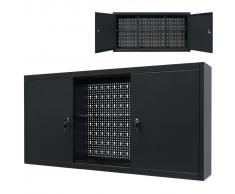 vidaXL Armario de herramientas de pared de metal 120x19x60 cm negro