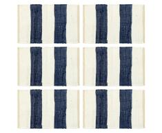 vidaXL Manteles individuales 6 uds Chindi a rayas azul blanco 30x45 cm