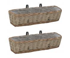vidaXL Set cestas almacenaje mimbre con revestimiento de PE 2 piezas