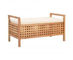 vidaXL Banco de almacenamiento de madera maciza de nogal 93x49x49 cm