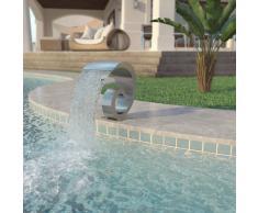 vidaXL Fuente de piscina de acero inoxidable 50x30x53 cm plateada