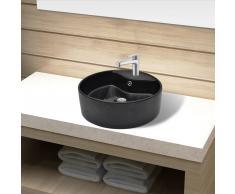 vidaXL Lavabo de cerámica con agujero para grifo/desagüe negro redondo